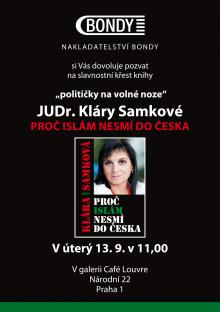 Pozvánka na křest knihy Proč islám nesmí do Česka