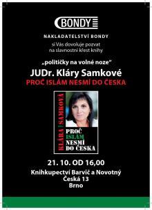 pozvánka na autogramiádu Kláry Samkové v Brně I.